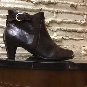 Dark chocolate brown soft leather upper bootie